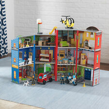 kidkraft Everyday Heroes Playset | Wooden Fire Station Playset Fire Engine