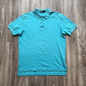 Polo Ralph Lauren Shirt Men's L Large Teal Short Sleeve Blue Pony Cotton