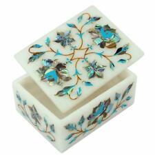 Marble Jewelry Box Semi Precious Stones Work Handmade art Inlay Home Decor