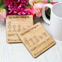 Personalised Mothers Day Wooden Coaster Gift For Mum Dad My Family Inspired OAK