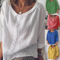 Plus Size Women Tops Summer Casual 3/4 Sleeve lapel Solid Blouse Linen Shirts #@