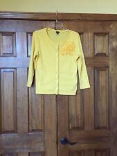 Rafaella Small S Yellow Knit Cardigan Embellished