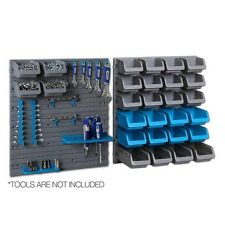 Wall Mounted Tool Storage Rack Set Peg Board Garage Shed Organiser 44 Bins Bolts