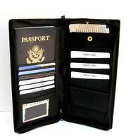 Black Fine Leather Wallet Passport Cover ID Holder Card Travel Zip Case