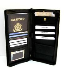 Black Fine Leather Wallet Passport Cover ID Holder Card Travel Zip Case
