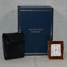 Halcyon Days Bilston & Battersea Enamel Travel Alarm Clock Soft Case In Box
