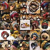 Elegant Women Wide Cross Bowknot Headband Stretch Hairband Hair Band Turban Hoop