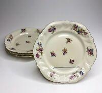 Set of 4 Elfenbein Rosenthal Viktoria Lombul Gold Trim Floral Roses Salad Plates