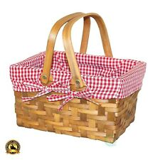 Small Picnic Basket Vintage Wood Handle Hamper Bread Shopping Gingham Lining New