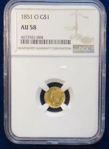 1851-O ONE DOLLAR GOLD TYPE-1 NGC AU58