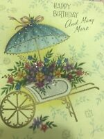 Vintage Birthday Card Wheelbarrow Flower Cart Umbrella Glitter Yellow Blue Pink
