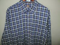 Peter Millar Mens Navy Blue Plaid Long Sleeve 100% Cotton Casual Shirt SZ XL EUC
