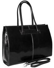 ital. Aktentasche  Handtasche Büro Arbeit Tasche Damentasche echt Leder schwarz