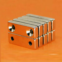 Small 20-100X Cuboid Magnets Double Holes Rare-Earth Neodymium N35 Grade IGCr