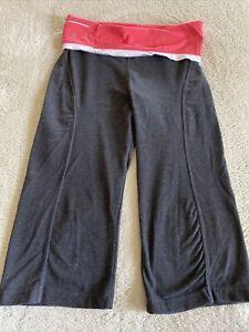 Bally Womens Gray White Pink Rollover Waist Cropped Yoga Pants Medium 8-10