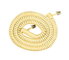 25'FT COIL Telephone Extension Phone Cord Cable Handset Line W/ Jacks Ivory ADP3