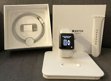 Used Apple Watch Series 3 42mm Stainless Steel Case Soft White Sport Band Watch