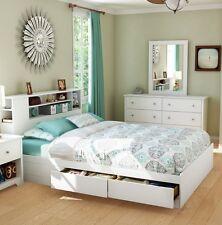 2 Piece White 2 Drawer Queen Storage Platform Bed Set Home Bedroom