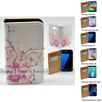 For Samsung Galaxy Series - Purple Orchid Print Wallet Mobile Phone Case Cover