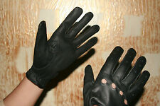 Ladies Women's Black Genuine Real Leather Driving Shooting Soft Gloves MEDIUM