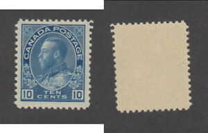 MNH Canada 10c Blue KGV Admiral Stamp Dry Printing #117a (Lot #20103)
