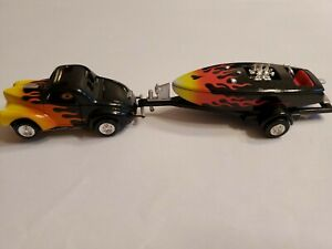 """FLAMED WILLY""""S COUPE & BOAT Slot Car HO NEW CHROME RIMS TIRES"""