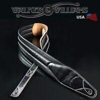 Walker & Williams C-21 Premium Black Leather PaddedGuitar Strap New Design