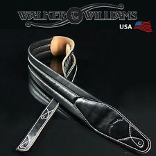 Walker & Williams C-21 Premium Black Leather Padded Guitar Strap New Design