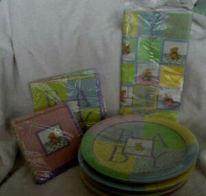 Baby shower party supplies - plates, napkins and table cloth
