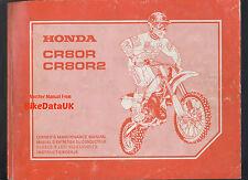 Honda Cr80, Cr 80 r/r2 (2000-on) Factory work-shop Manual, escuela boy/junior Vmx