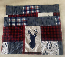 (2) CUDDL DUDS FLANNEL PILLOW SHAMS COTTON Buck Patchwork  Plaid Winter Deer