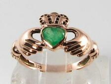 LOVELY 9CT 9K ROSE GOLD COLOMBIAN EMERALD CLADDAGH HEART ART DECO INS RING