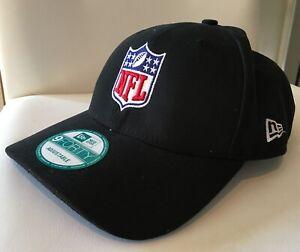 NFL Shield New Era Logo 9FORTY Adjustable Hat - Black with Embroidered NFL logo