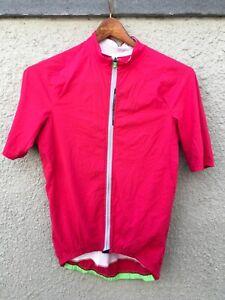 """Q36.5 men's medium L1 red """"pinstripe"""" short sleeve jersey - Made in Italy VGC"""