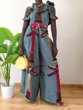 Women's Dungarees Jumpsuit African Ethnic Print Suit Size Uk 8 red multicolored