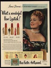 1947 IRENE DUNNE - Max Factor Hollywood Lipstick - Make-Up - VINTAGE AD