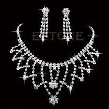 Prom Wedding Bride Bridesmaid Crystal Rhinestone Necklace Earring Jewellery Sets