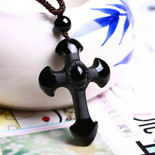 1 Pcs New Natural Black Obsidian Carved Cross Lucky Pendant Free Beads Necklace
