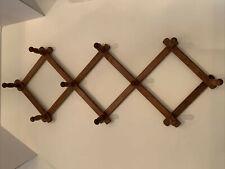 Vintage Wood Expandable Folding 10 Peg Wall Hat Rack Max 35� x 11� W/ 3� Pegs