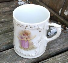 VINTAGE VICTORIAN CHILDREN'S MUG WITH LITTLE GIRL IN PURPLE DRESS AND HAT