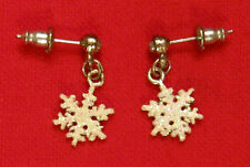 SNOW FLAKE Dangle Pierced Earrings Rhinestone Nickel Free Studs
