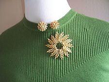 LISNER Goldtone Wheat Pin & Earring Set