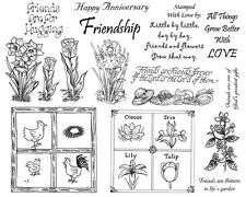 Unmounted Rubber Stamp Sheets, Friendship Stamps, Flowers, Sayings, Gardening