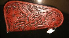 WESTERN LEATHER TOOLED PISTOL 3D POUCH MED.  MAHOGANY FLORAL GUN CASE 13X7