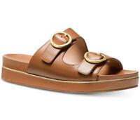 NIB Size 5.5 Michael Kors Estelle Leather Sandal Acorn Tan Gold Buckles