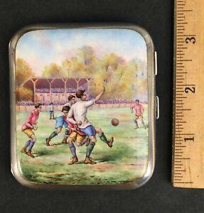 Antique German Kuppenheim Enamel Painting Silver Futbol Soccer Cigarette Case