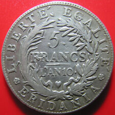 ITALY PIEDMONT SUBALPINE REPUBLIC L'AN 10 (1801) 5 FRANCS SILVER NAPOLEON RARE!