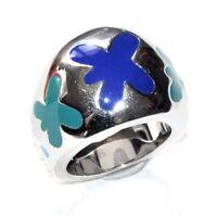 SWATCH Bague boule originale et design acier et émail bleu T 52 bijou ring