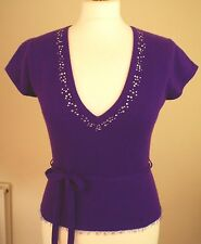Whistles Sz Small 8/10/12 100% Cashmere Belted Jumper Top Purple Diamante Sequin