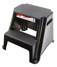 Rubbermaid RM-P2 2-Step Molded Plastic Stool with Non-Slip Step Treads, Black